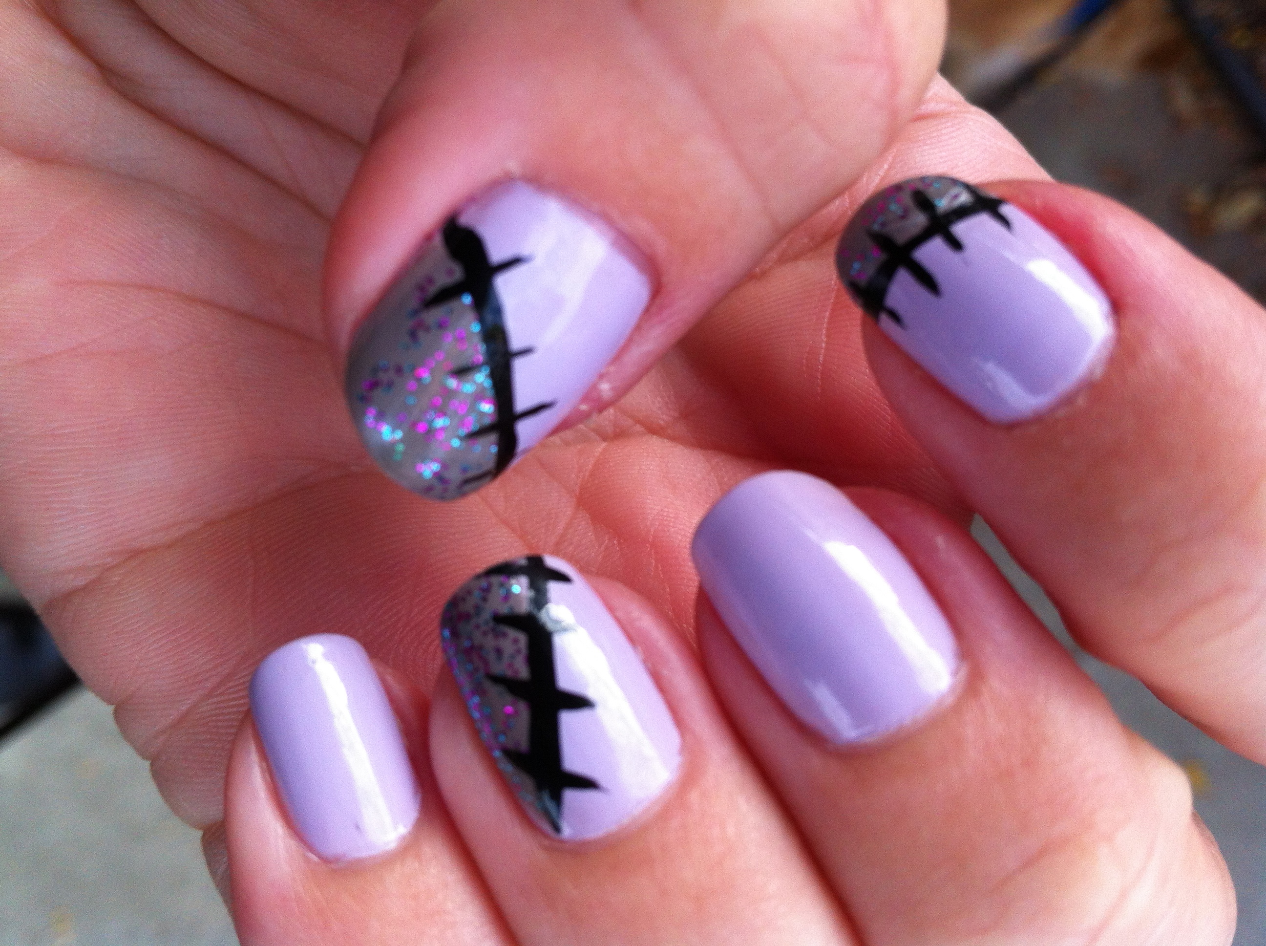 These halloween nails will keep you in stitches this was pretty easy as far as nail art prinsesfo Choice Image