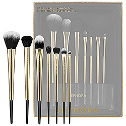 471527117 This set includes brushes for Powder, Foundation, Face Contour, Concealer,  Shadow, Crease, and Angled Eyeliner. It also comes with a cute Lucite stand.