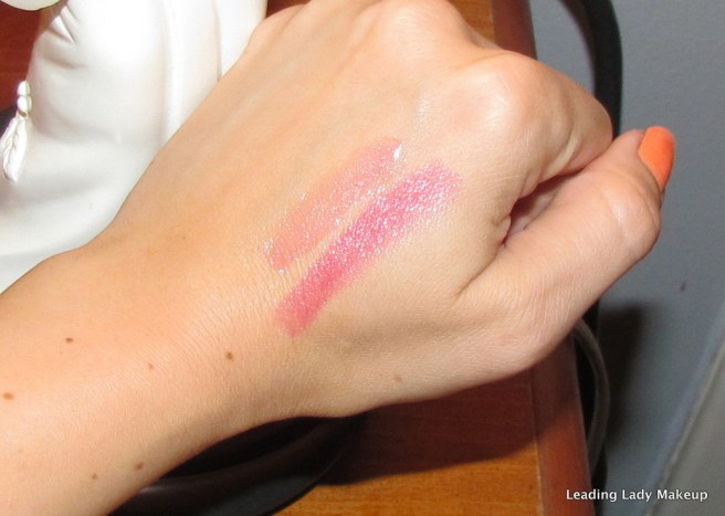 Color Swatches for Dragon Fruit lipstick and Flaunt Lip Gel