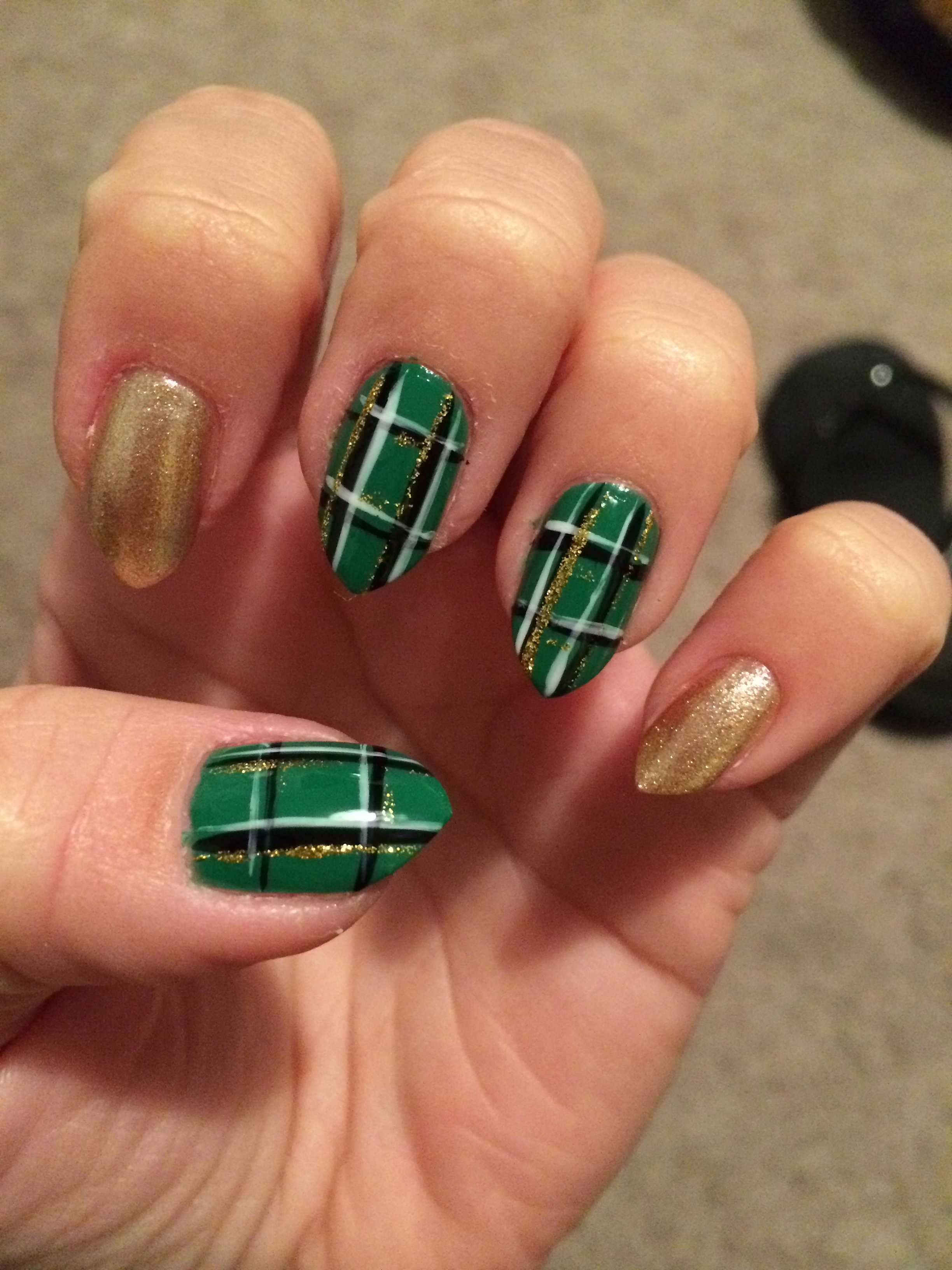 Plaid nail art all you need is a base color i picked sheswais dig it shade a white striper a black striper and an optional glitter striper i bought the kiss trio prinsesfo Choice Image